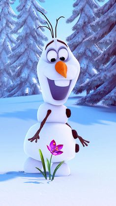 Olaf Frozen iPhone 6 plus wallpaper for 2014 Halloween - Flower, Snow Trees, Wonderland
