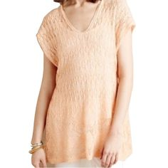 """NWT Moth Anthro Sz L Hooded Pointelle Sweater Moth from Anthropologie  Hooded pointelle sweater. Crocheted, open knit. Lightweight. Size: Large Linen & Cotton New with tags! Orig $88!  Color: Tag says """"mango"""". It's a peachy, heathered orange. •Measurements: Bust– 21.5"""" across the front, lying flat. Length - 31.25"""" from shoulder to hem.NWT Anthropologie Tops Blouses"""