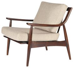Great mid-century proportions and styling. Solid Walnut Frame. Upholstered seat cushions. Turned legs. Curved, tapered arms. Exposed wood back. Adam chair by gingko