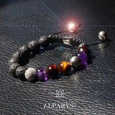 Bracelet pierres de lave, pavé argent, améthyste, œil de tigre. Alparysjewels