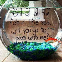 I wish my boyfriend would ask me to prom this way! We even have get a fish on our bucket list! :)