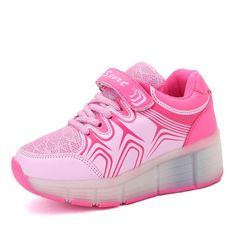 Rosa Leuchtende Schuhe Die Rollen Atmungsaktiv Kinder Mädchen