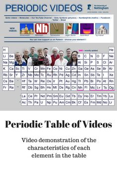 Periodic Table of Videos - Tables charting the chemical elements have been around since the 19th century - but this modern version has a short video about each one. All these videos are created by video journalist Brady Haran, featuring real working chemists from the University of Nottingham.