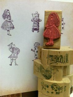 6 Large Rubber Stamps,ALICE IN WONDERLAND by beachbabyblues, $58.00