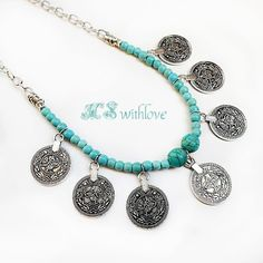 Boho coin necklace, Bohemian turquoise necklace, Gypsy short necklace, Woman short necklace by MSwithlove on Etsy