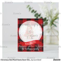Christmas Red Plaid Santa Snow Globe Custom Name Holiday Postcard Santa Snow Globe, Merry Christmas Santa, Red Christmas, Christmas Cards, Holiday Postcards, Elephant Gifts, Red Plaid, Snow Globes, Envelope