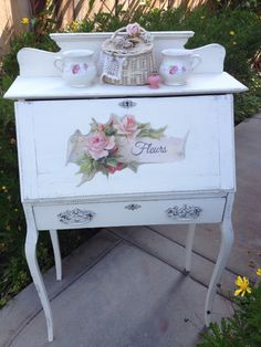 1890's Shabby Chic secretary...Annie Sloan Old White with rose graphic