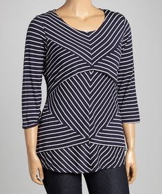 Another great find on #zulily! Navy & White Stripe Tiered Top - Plus by Allie & Rob #zulilyfinds