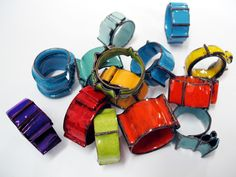Fold Form Enamel Rings