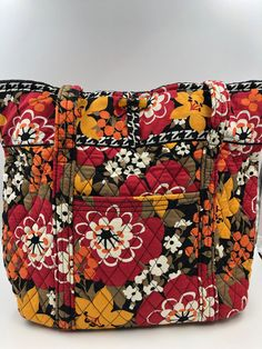 Details about Vera Bradley Large Flora Tote Bag in Bittersweet 5eef80e135bfd