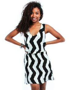 ZIG ZAG STRIPED TIERED DRESS WITH OPEN BACK $18.00