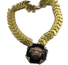 Bulldog Choker Necklace Vintage Brass Fish Bone Scale by LilisGems, $46.00
