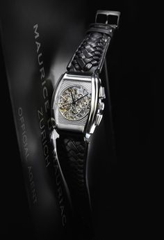 Tonneau skeleton watch by Maurice de Mauriac. Swiss luxury watches for men and women.