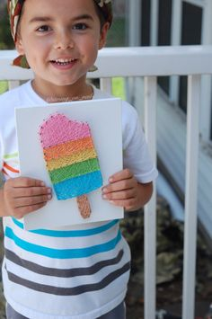 This rainbow popsicle sign is made using nails and string and is the perfect summer decor! The pastel rainbow is fun and bright. Please note each sign is made to order and handmade. String Art Templates, String Art Patterns, Rainbow Png, Rainbow Pastel, Fun Crafts, Crafts For Kids, Rainbow Photography, Nail String Art, Thread Art