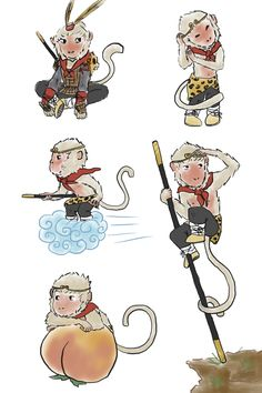 Final art of the Monkey King - Sun Wukong~ From Journey to the West. The pose with the rod is based on a picture of some Shaolin Monk