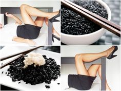 A new post on www.mannermagazin...: rice with cream pears, recipe, black and white style, black and white outfit, work outfit, white shirt, little black dress