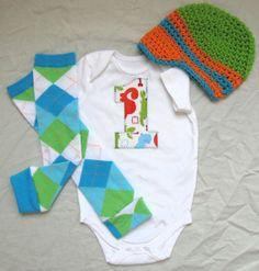 Baby boy 1st Birthday onesie/bodysuit leg warmers by mmhandmades, $23.95