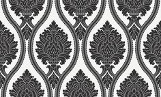 Corona Black/White (888001) - Arthouse Wallpapers - A bold damask design with an oval trellis effect, created in textured blown vinyl.  Co-ordinating stripe available. Shown in the black and white colourway. Please request sample for true colour and texture match.