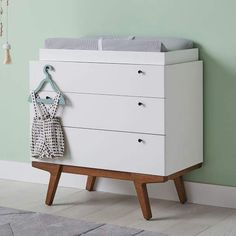 Discover Pottery Barn Kids' collaboration with West Elm for a mid century modern nursery. Find mid century modern cribs, bedding and more that ensure style and safety in your nursery. Baby Dresser, Nursery Dresser, 3 Drawer Dresser, Dressers, Girl Nursery, Nursery Ideas, Nursery Decor, Room Ideas, Modern Crib