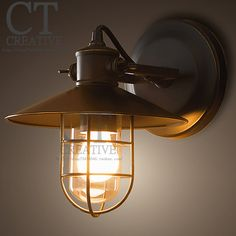 Colored glaze loft made of copper lamp base classic antique bird cage metal wall lamp(China (Mainland))