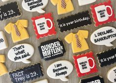 """""""The office"""" themed cookies! Office Themed Party, Office Birthday, 13th Birthday Parties, Office Parties, 30th Birthday, Birthday Party Themes, Summer Birthday, Birthday Ideas, The Office Show"""