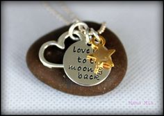 Love You to the Moon Hand Stamped Necklace with BOOK!!!!  by mamamiatina, $53.00