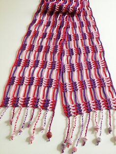Cachecol de verão em crochet (rosa e violeta)