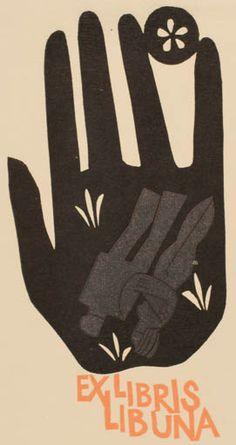Art by Miroslav Houra, Ex Libris for Libuna, Linocut, Czech Republic, 128mm x 68mm.
