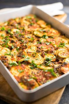 No cheese, no cream, no beef, no egg in this casserole, but it is bursting