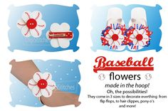 Baseball Flowers In The Hoop - DigiStitches Machine Embroidery Designs