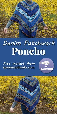 Free crochet pattern: Denim patchwork poncho