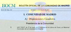 Ley de Gratuidad de Libros de Texto y Material Curricular en la Comunidad de Madrid. #SIOEP Boarding Pass, Travel, Texts, Textbook, Law, Libros, Viajes, Destinations, Traveling
