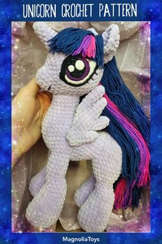 Unicorn (pony) crochet pattern is an 60 pages PDF pattern (with step by step photos) - Available in English. Size toy inch tall when made with the indicated or similar yarn. Crochet Pony, Crochet Eyes, Crochet Unicorn, Crochet Hooks, Double Crochet, Single Crochet, Stuffed Animals, Dinosaur Stuffed Animal, My Little Pony Plush