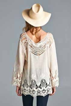 Crochet Ladika Tunic   Women's Clothes, Casual Dresses, Fashion Earrings & Accessories   Emma Stine Limited