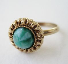 Vintage 60s Retro Traditioinal Goldtone Marbled Green Cabochon Adjustable Ring by ThePaisleyUnicorn, $5.00