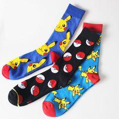 Cartoon Men's Socks Colorful Point Pokemon ball Men Women Long Fashion Cotton Socks Happy Pikachu Jacquard  #Affiliate