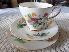 Bone china trio Delphine china England cup by MaddisonsRainbow Gilded Edge, English China, Party Items, Spring Flowers, Bone China, Cup And Saucer, Tea Time, Tea Party, Tea Cups