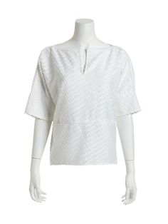 Optic White Clip Jacquard Overblouse