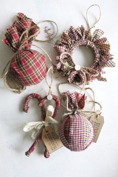 Homespun Fabric Christmas Ornament