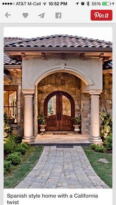 Stucco pillar entrance