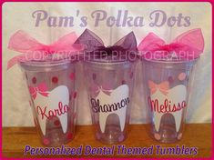 Personalized DENTAL ASSISTANT / HYGIENIST Acrylic Tumblers. Handmade by Pam's Polka Dots.