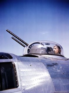 Sgt is top turret gunner on a B-24 of the 8th Air Force in England.