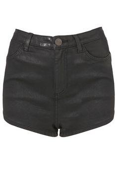 MOTO Black Coated Denim Shorts (topshop)
