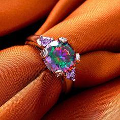 Rainbow Topaz Amethyst ring size 7 - $45