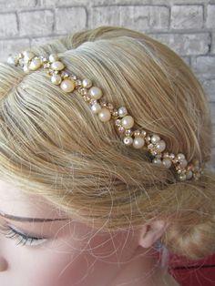 62f178f89f Reserved For Maria  Wedding gold Rhinestones and ivory pearl headband   Bridal Headband