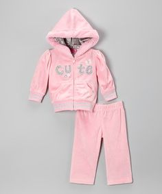 Loving this Pink 'Cute' Zip-Up Hoodie & Sweatpants - Toddler on #zulily! #zulilyfinds