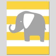 Modern Elephant Stripe Silhouette Print  8x10 Striped by Tessyla, $20.00