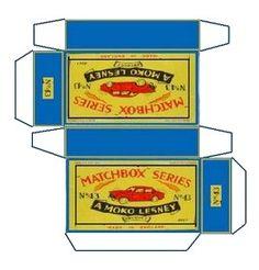 Vintage Matchbox Series toy car packaging (miniature printie)
