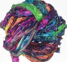 100g Recycled Sari Silk Ribbon Yarn multi 65 yards  by JuliaLCraft, $11.00