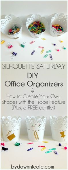 Silhouette Saturday | DIY Office Organizers & How to Create Your Own Shapes with the Trace Feature | ByDawnNicole.com #silhouettesaturdays #silhouetteCAMEO
